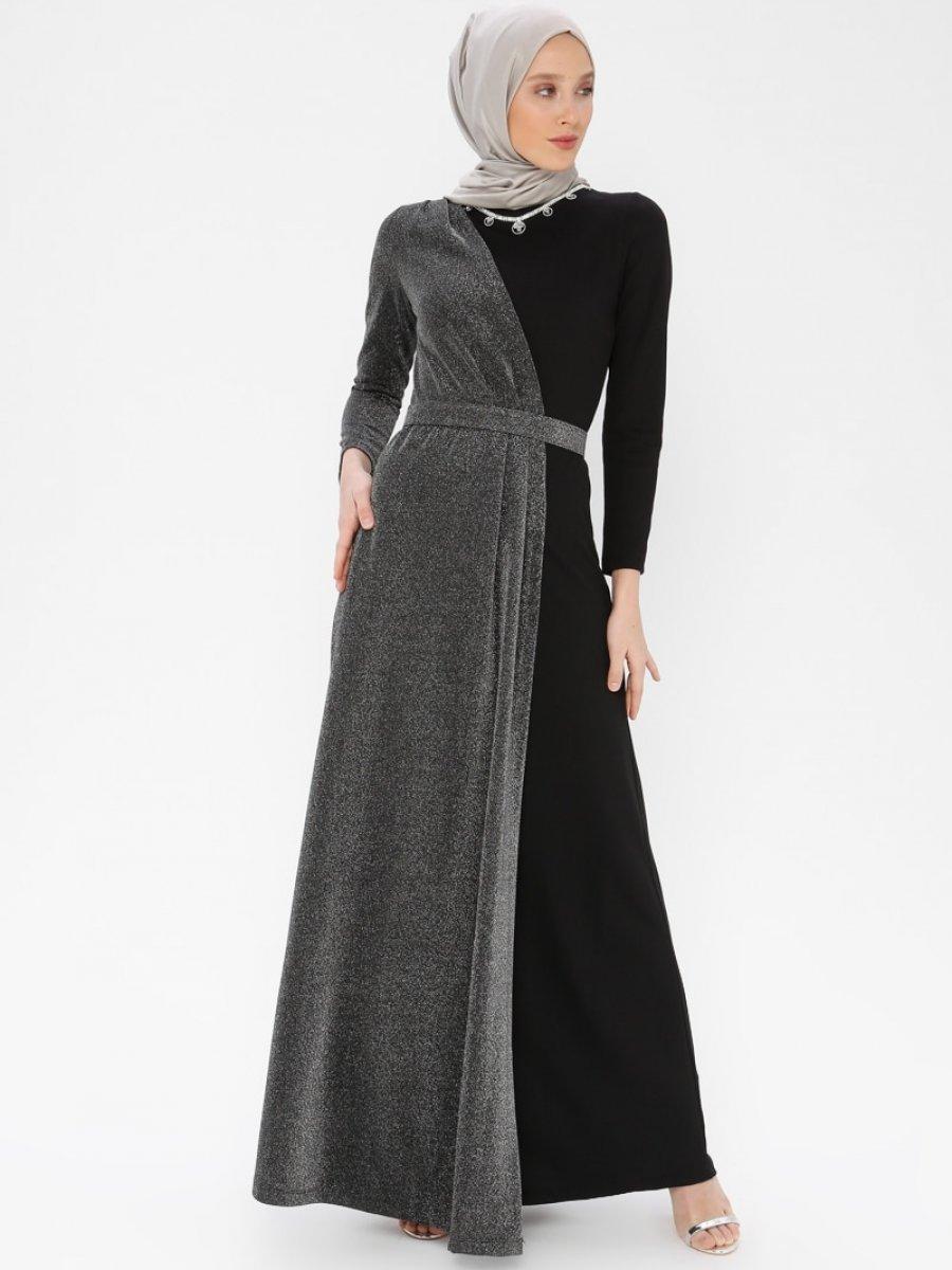 162333ab8a4e9 Arin Kolye Detaylı Simli Siyah Abiye Elbise | Ehl-i Tesettür