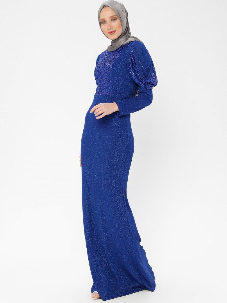 2cef26e7b87d9 Arin Pul İşlemeli Simli Balık Saks Mavisi Abiye Elbise | Ehl-i Tesettür