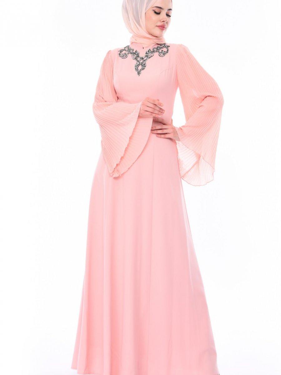 d328faabf9f18 Sefamerve Taşlı Somon Abiye Elbise | Ehl-i Tesettür