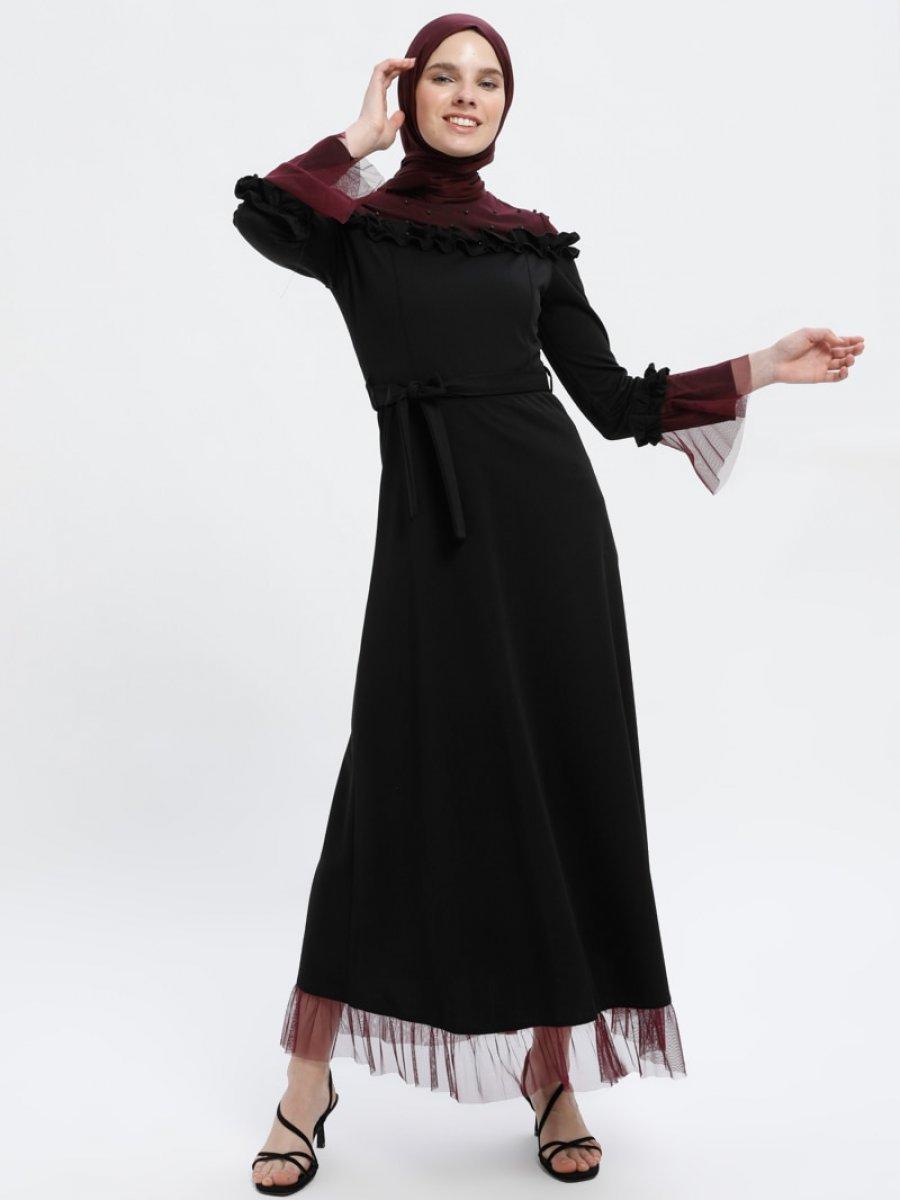 2678d5f860060 Tuana Tül Detaylı Siyah Mürdüm Abiye Elbise | Ehl-i Tesettür