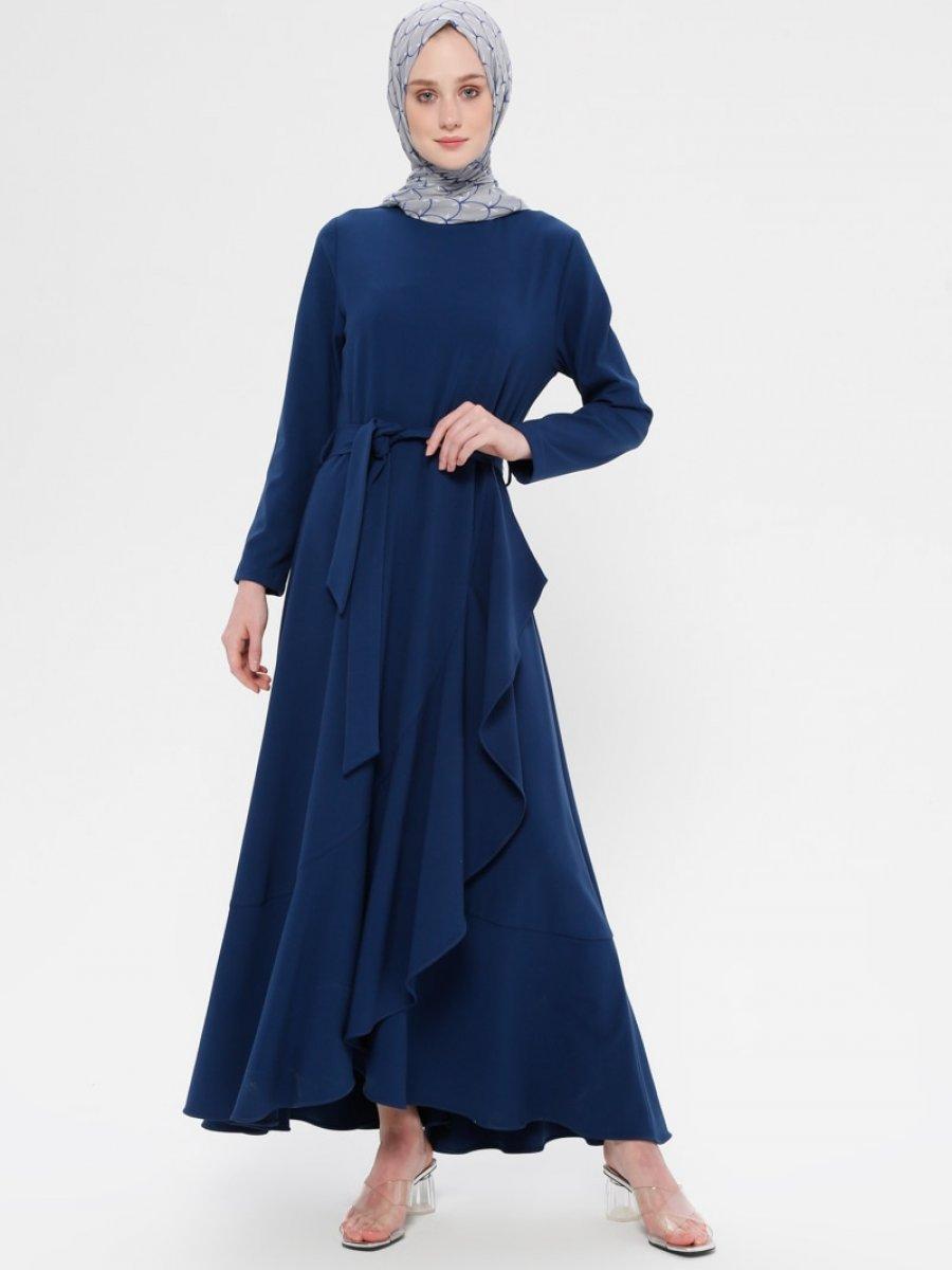 a52ef403b32e6 Panaline Volan Detaylı İndigo Elbise | Ehl-i Tesettür