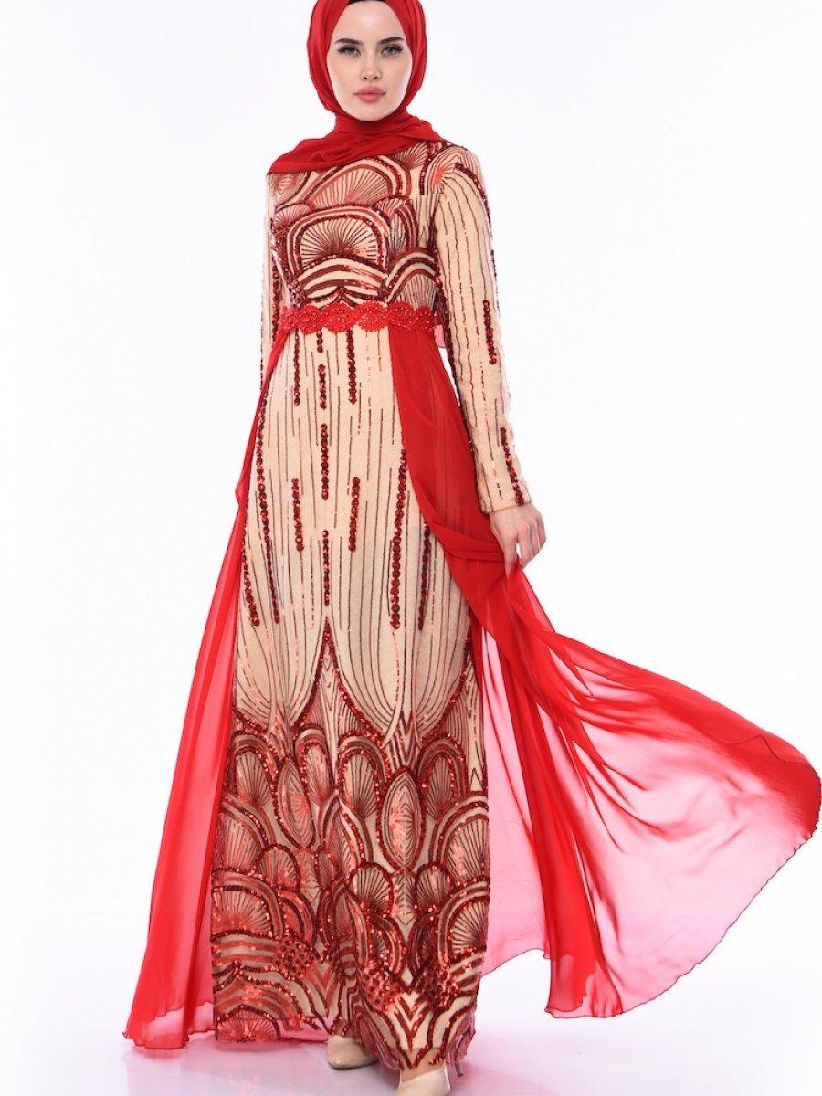 Sefamerve Payetli Kırmızı Bej Abiye Elbise