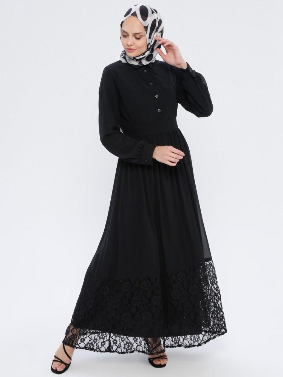 BÜRÜN Dantel Detaylı Siyah Abiye Elbise