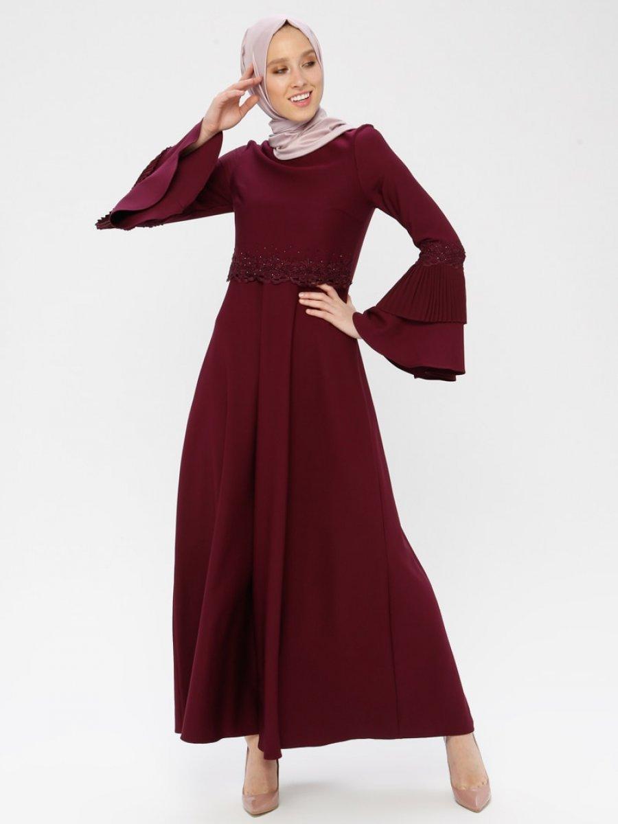 Laruj Volan Detaylı Vişne Elbise