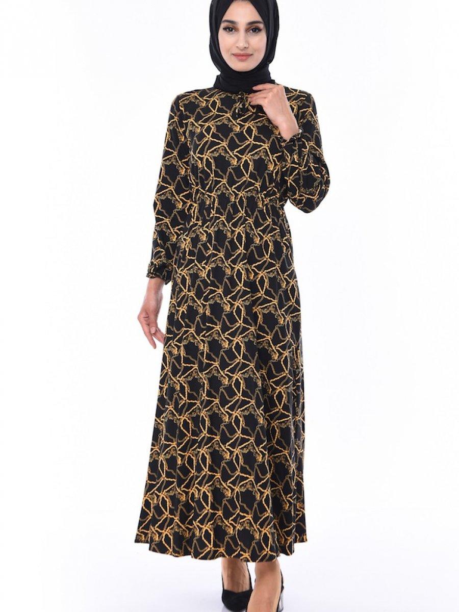 Sefamerve Zincir Desenli Siyah Elbise