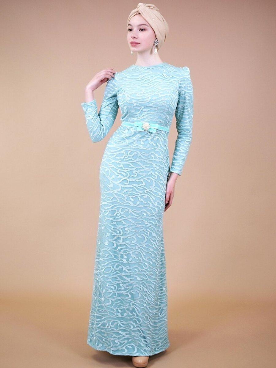 Sew&Design Mint İncli Kemerli Dantel Abiye Elbise