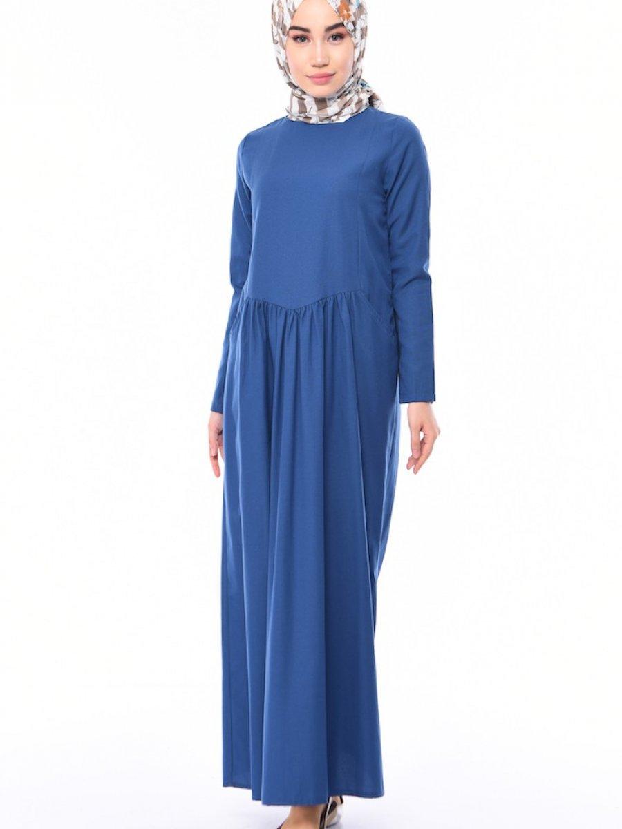 Sefamerve Cepli Büzgülü İndigo Elbise