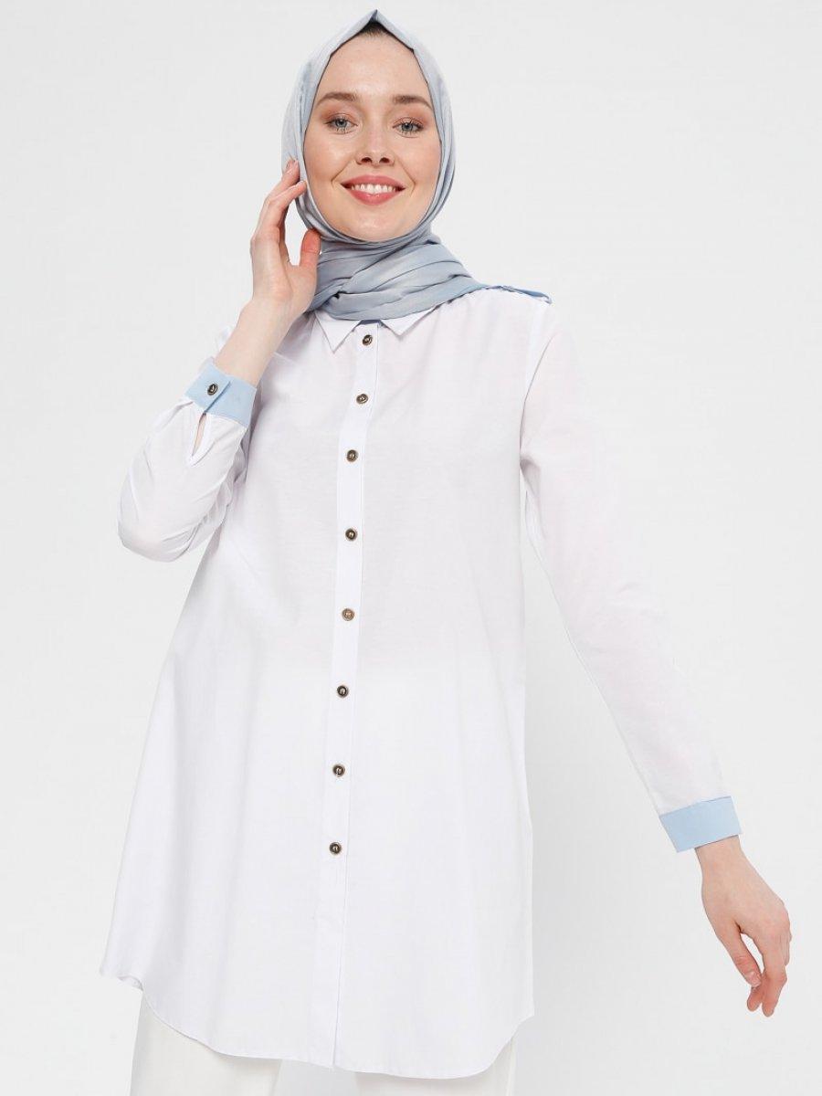 Sumre Düğmeli Beyaz Tunik