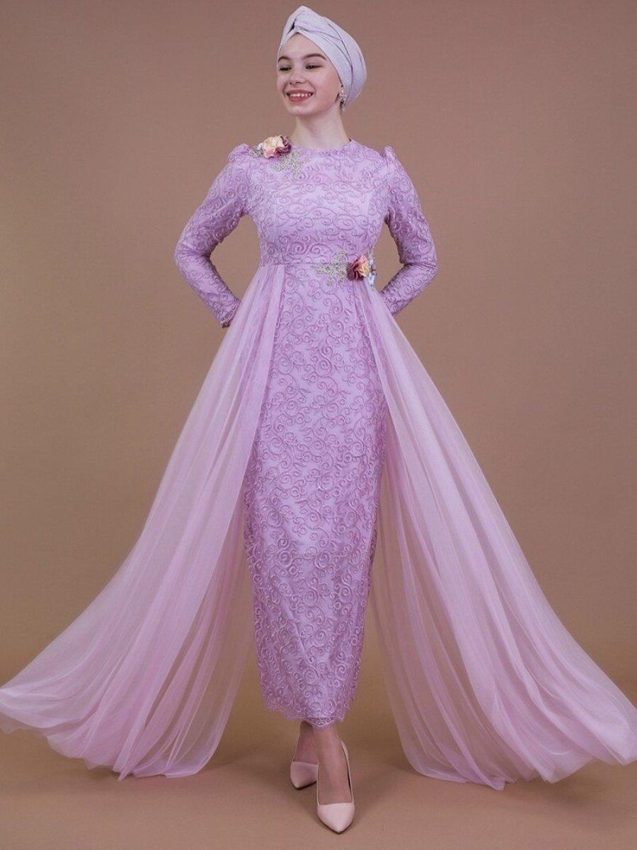 Sew&Design Pembe Çiçekli Aplik İşlemeli Abiye Elbise