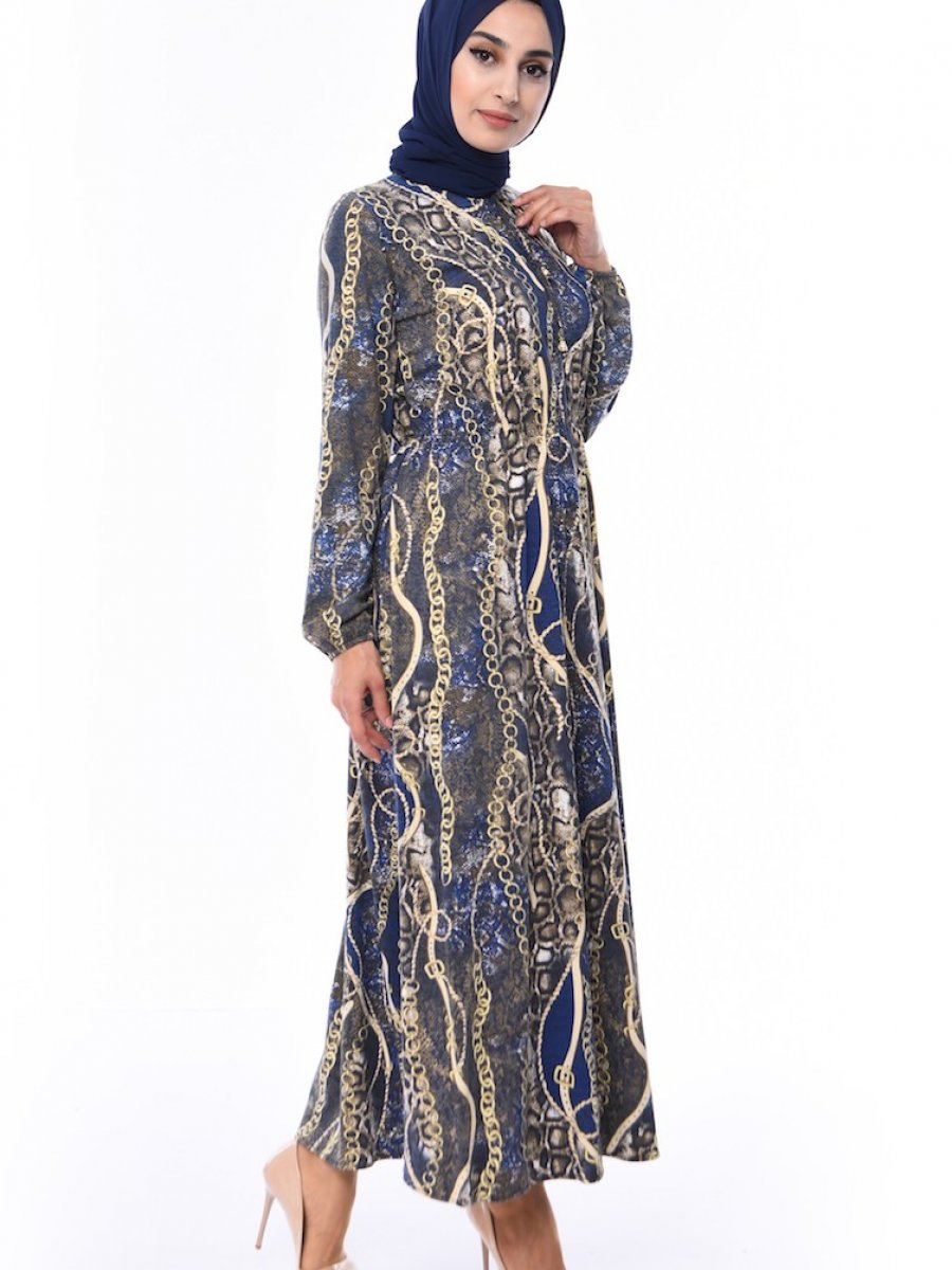Sefamerve Zincir Desenli Lacivert Elbise