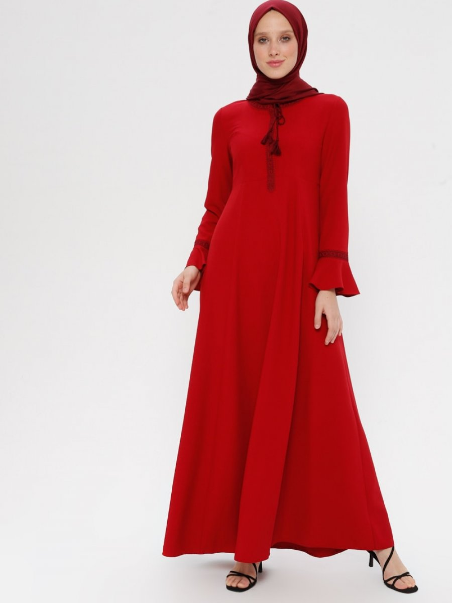 TUĞBA Volan Detaylı Kırmızı Elbise