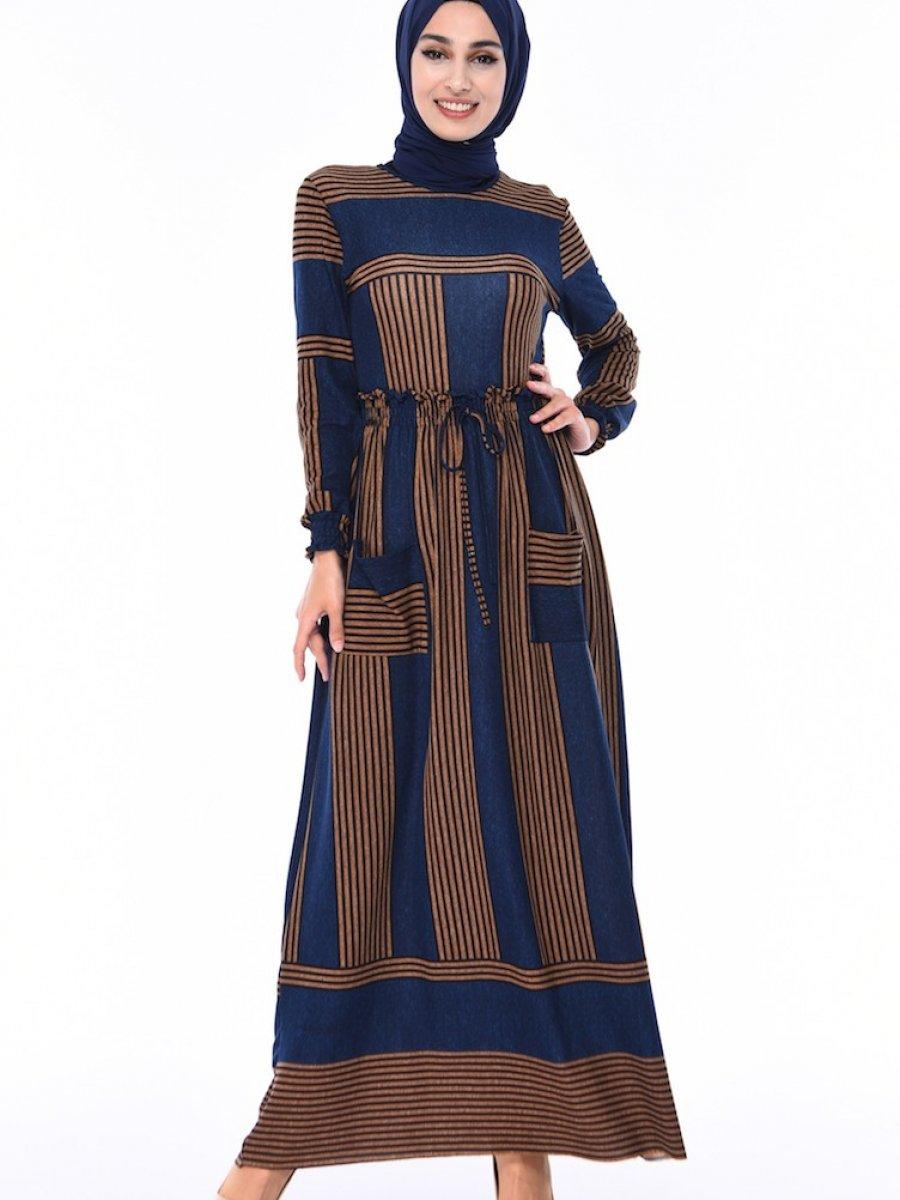 Sefamerve Çizgili Lacivert Elbise