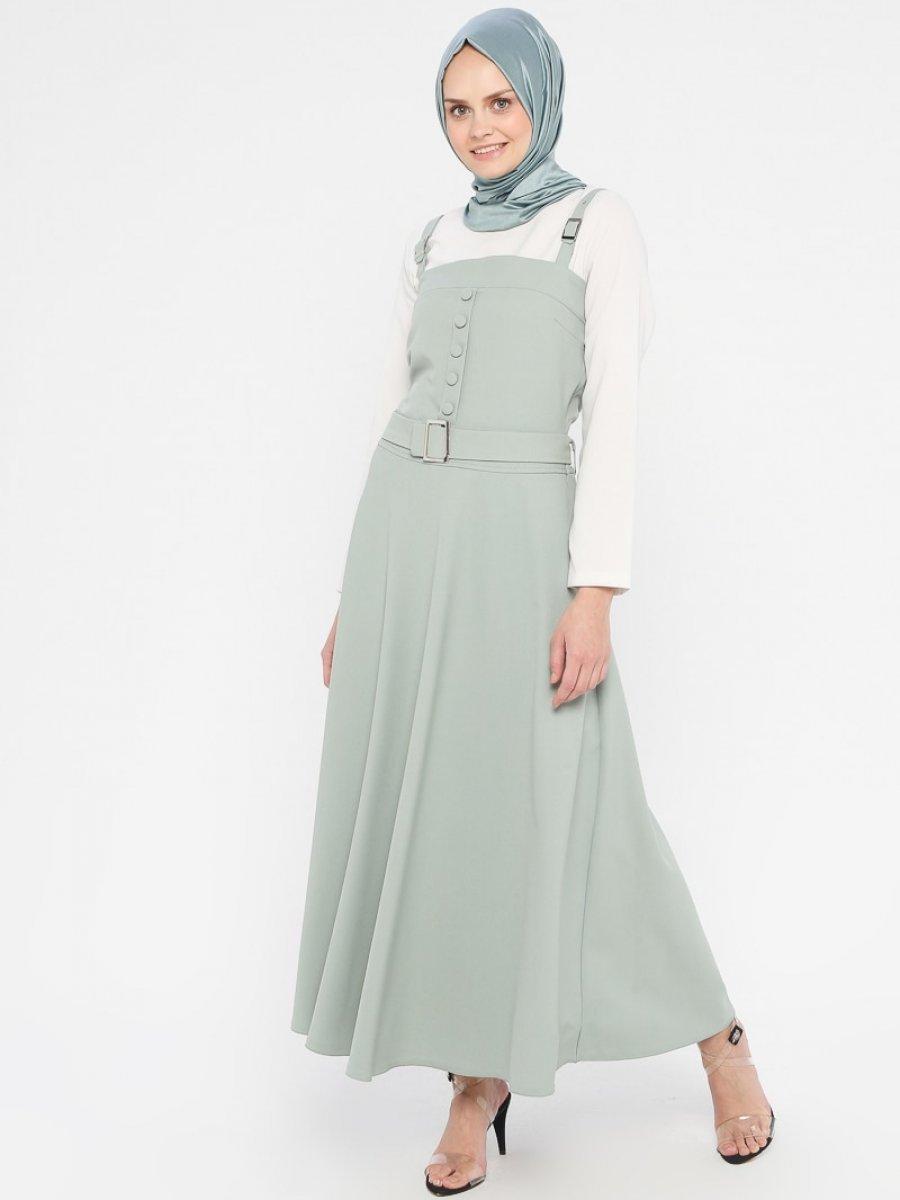 Tuana Kemer Detaylı Askılı Mint Elbise