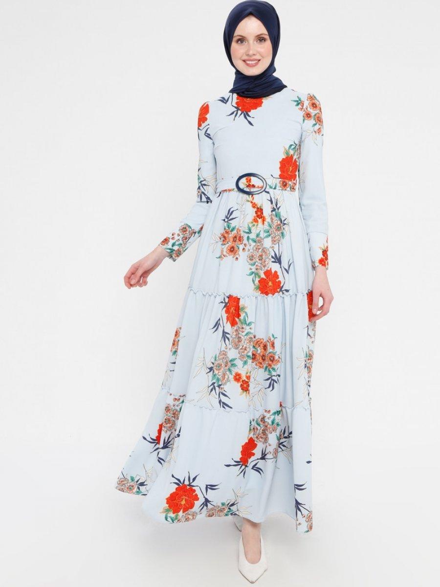 Loreen By Puane Kemerli Mavi Elbise