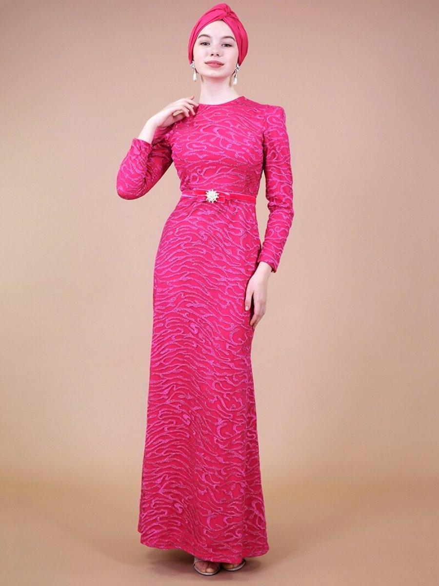 Sew&Design Fuşya İncli Kemerli Dantel Abiye Elbise