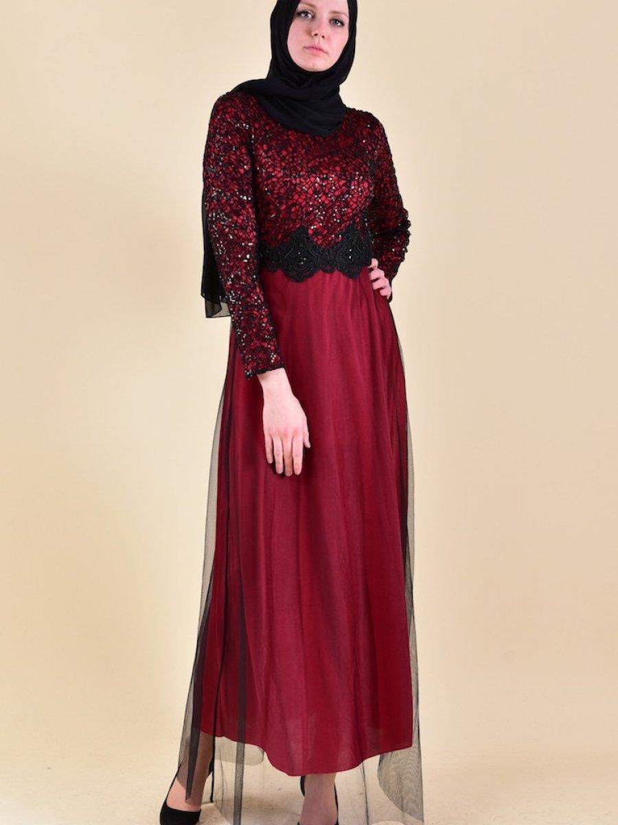 Sefamerve Dantel Detaylı Kırmızı Abiye Elbise
