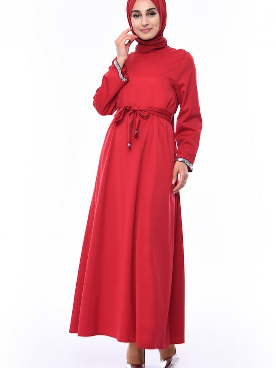 4bf47df713553 Sefamerve Payet Detaylı Kuşaklı Bordo Elbise | Ehl-i Tesettür