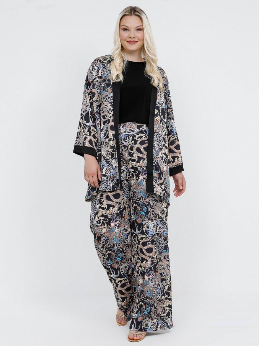 Alia Desenli Kimono Siyah Bej Kap