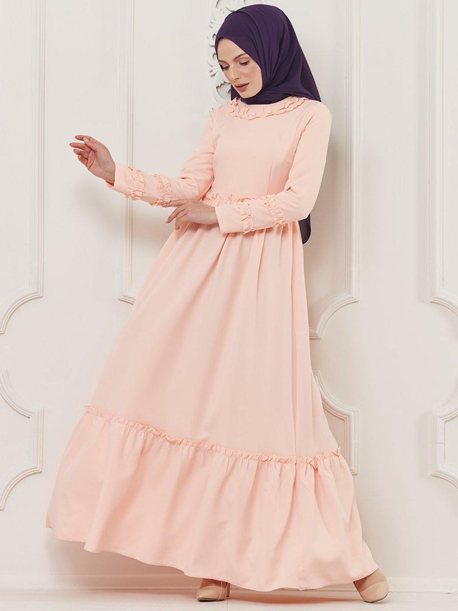 Butik Neşe Fırfırlı Pudra Elbise