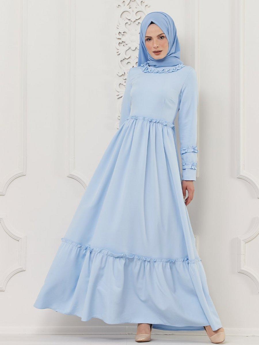 Butik Neşe Fırfırlı Mavi Elbise