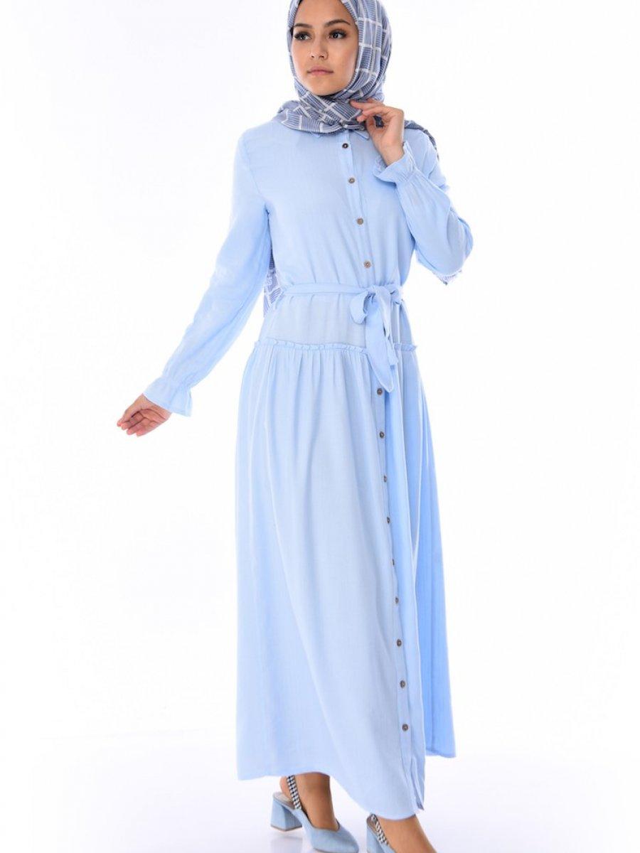 Sefamerve Düğmeli Kuşaklı Bebek Mavisi Elbise