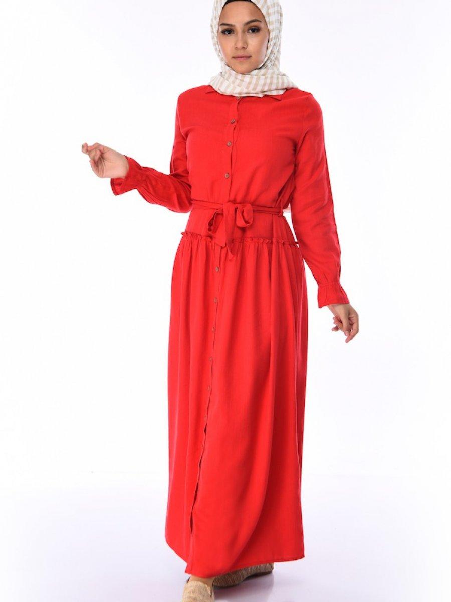 Sefamerve Düğmeli Kuşaklı Kırmızı Elbise