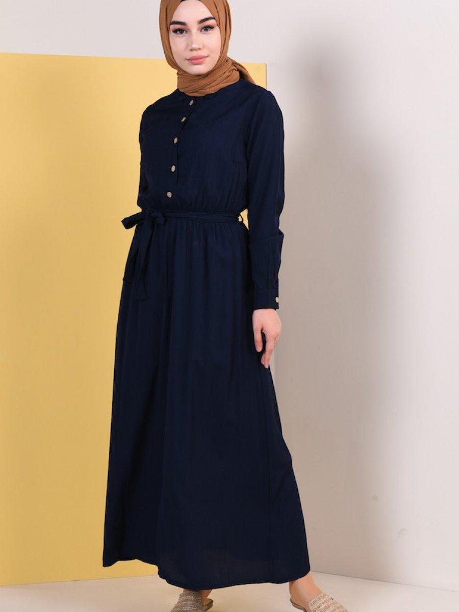 Sefamerve Kuşaklı Yazlık Lacivert Elbise