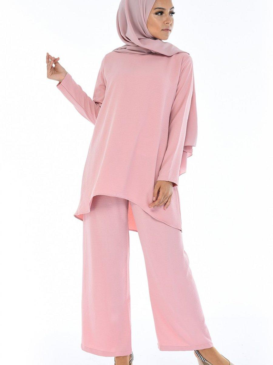 Sefamerve Aerobin Kumaş Tunik Pantolon İkili Pudra Takım