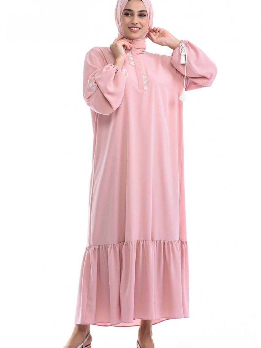 Sefamerve Büyük Beden Büzgülü Pudra Elbise