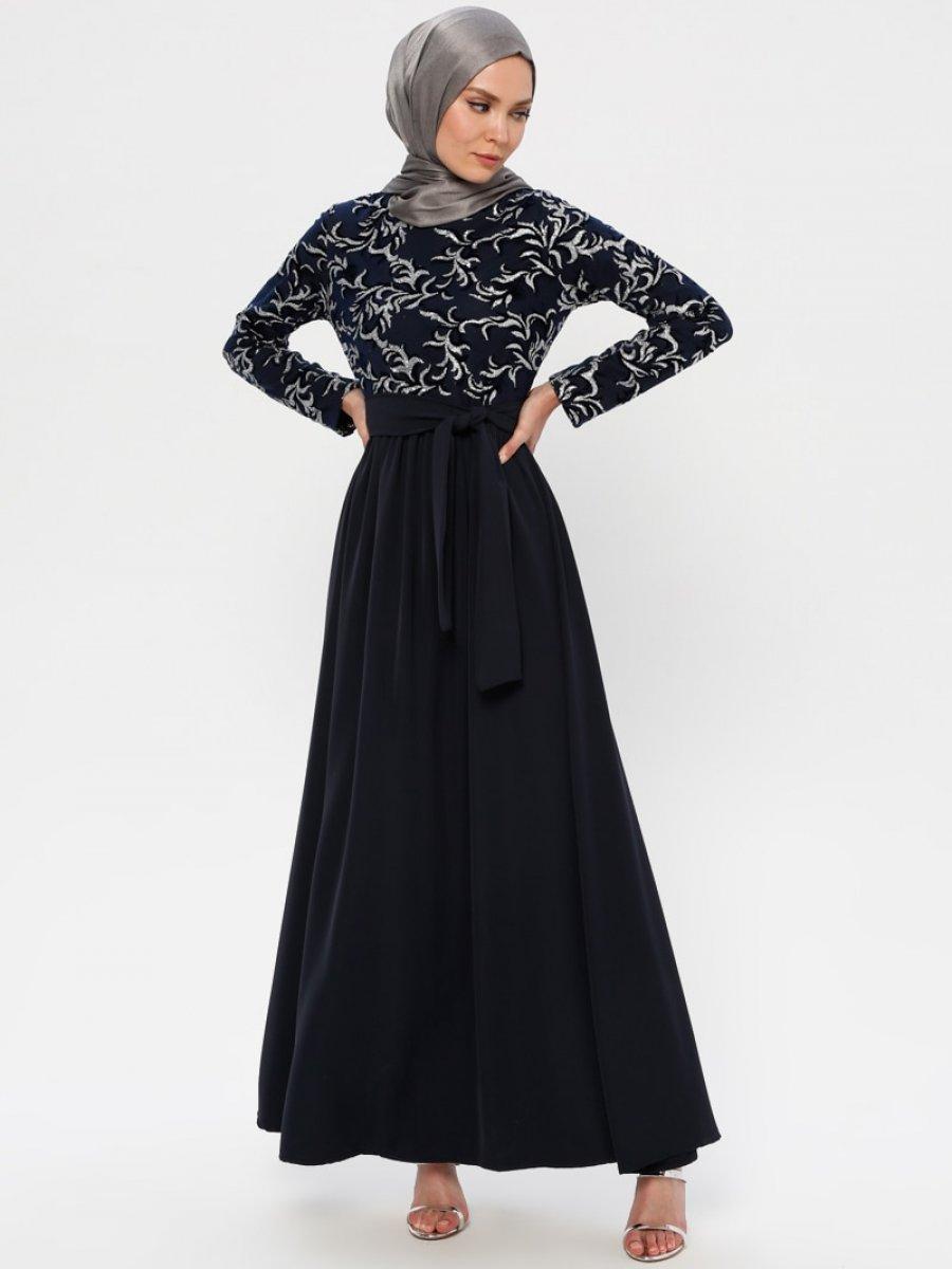 Filizzade Flok Baskılı Gümüş Lacivert Abiye Elbise