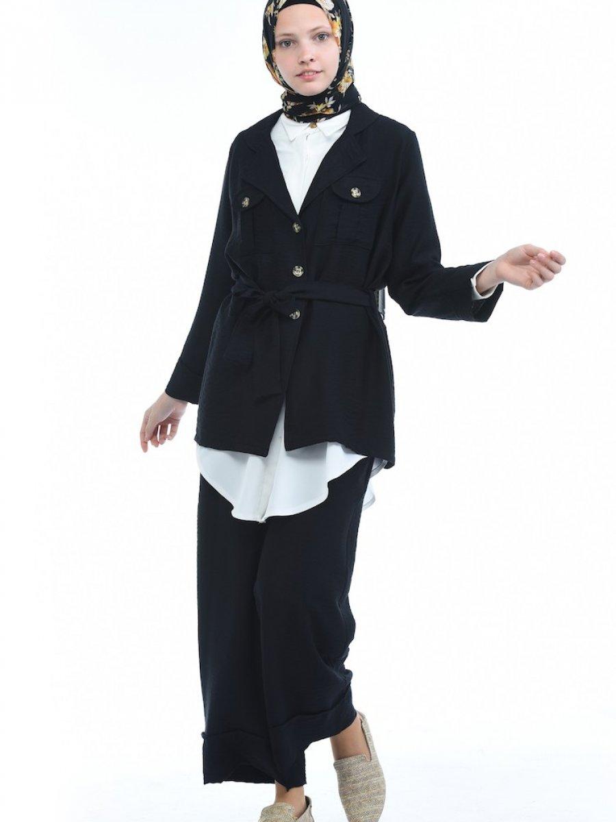Sefamerve Keten Ceket Pantolon İkili Siyah Takım