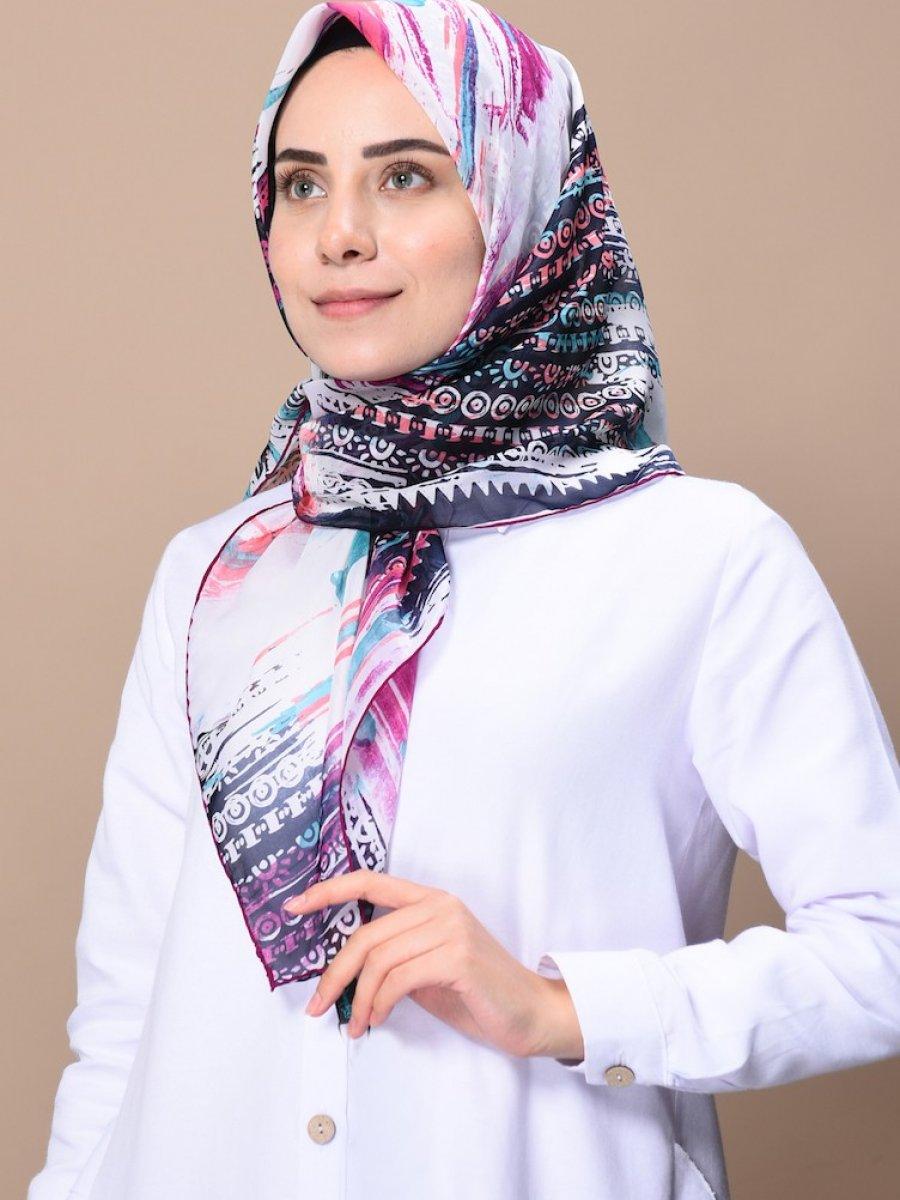 Sefamerve Beyaz Desenli Alize Şifon Eşarp