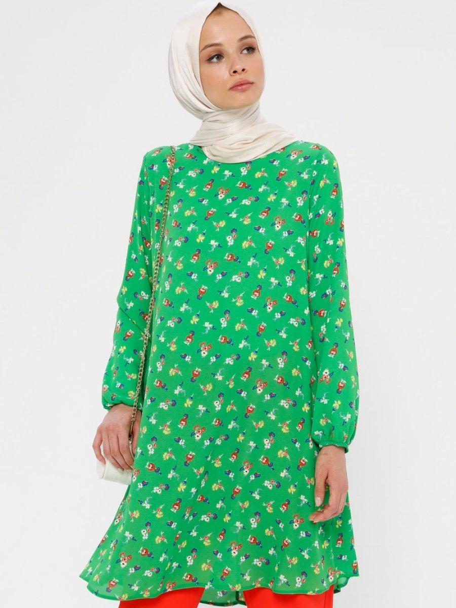 Ginezza Çiçek Desenli Yeşil Kırmızı Tunik