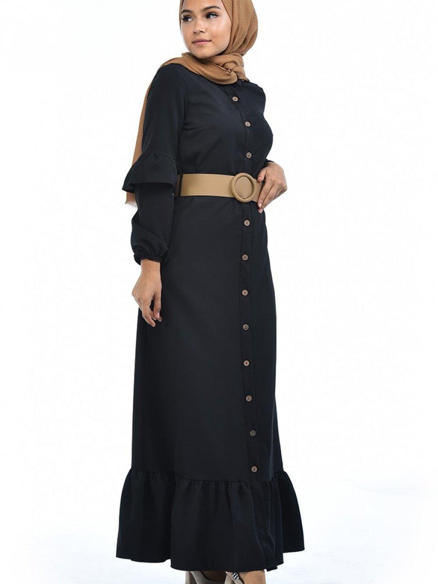Sefamerve Kemerli Büzgülü Siyah Elbise
