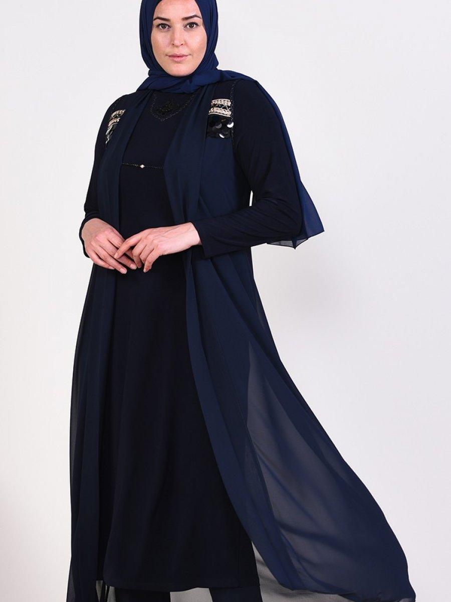 Sefamerve Lacivert Büyük Beden Pullu Abiye Elbise Tunik