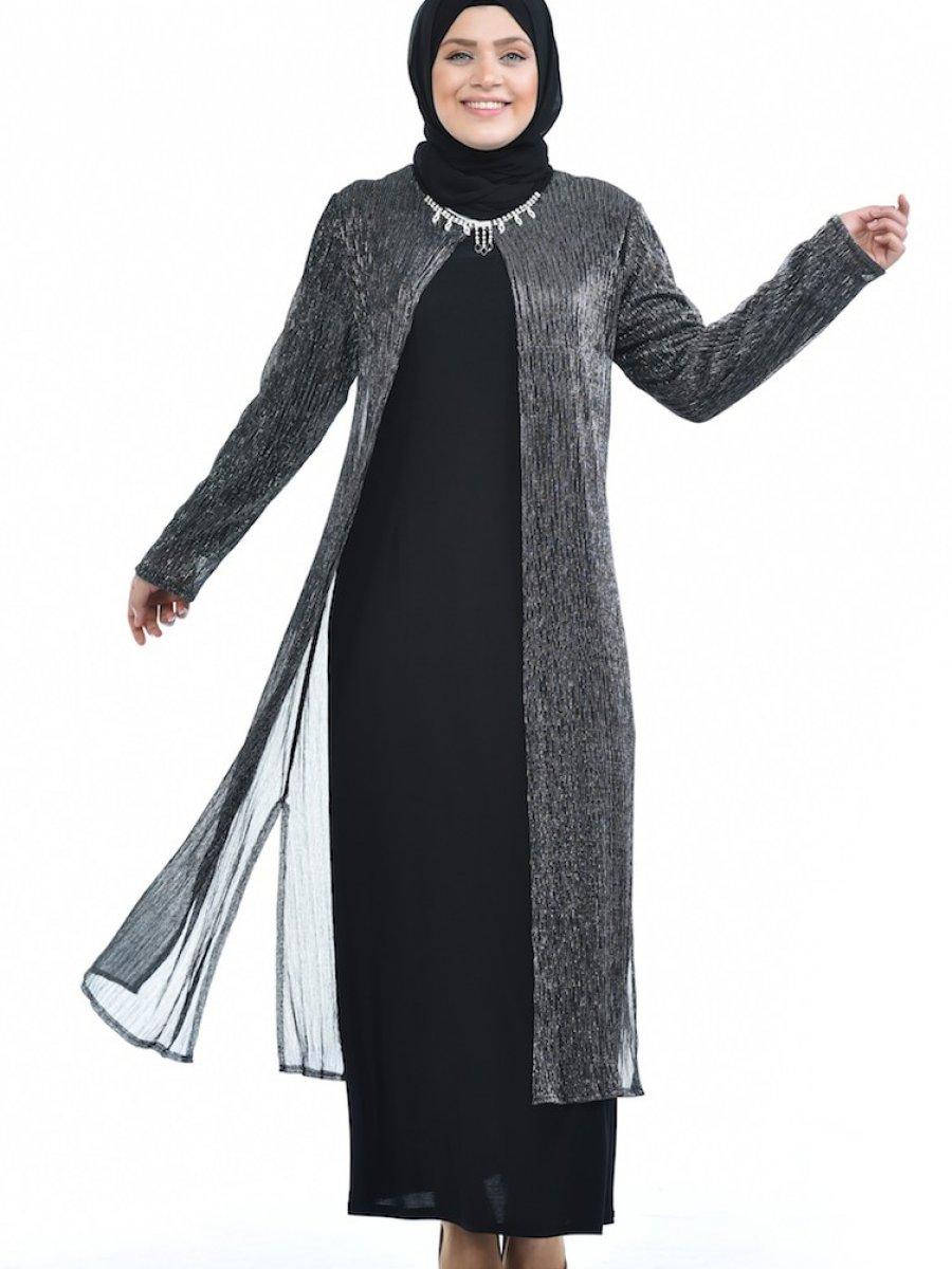 Sefamerve Büyük Beden Takım Görünümlü Siyah Abiye Elbise