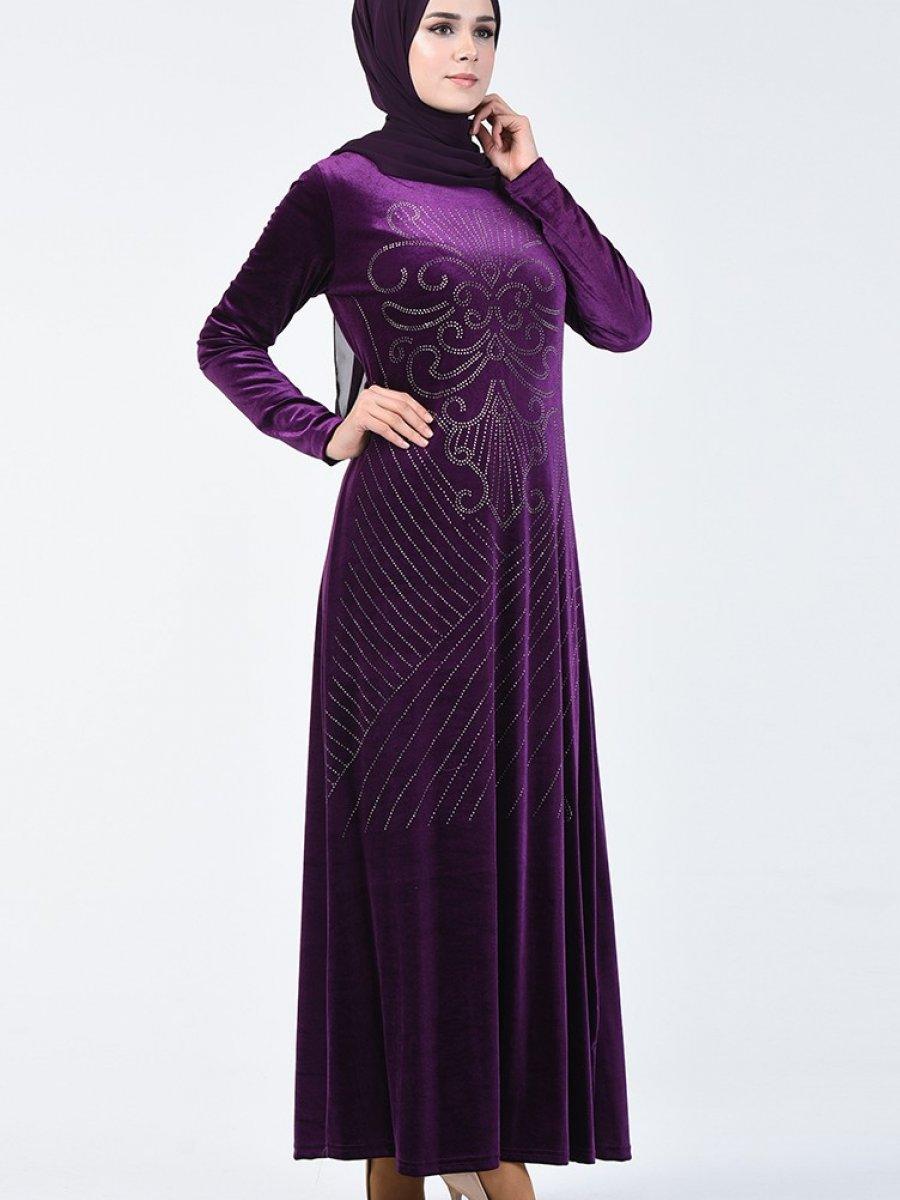 Sefamerve Mor Taş Baskılı Kadife Elbise