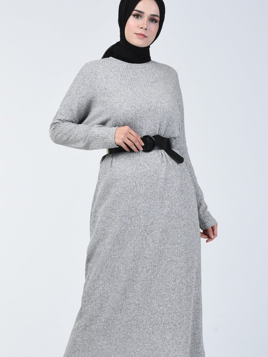 Sefamerve Yarasa Kol Uzun Gri Tunik