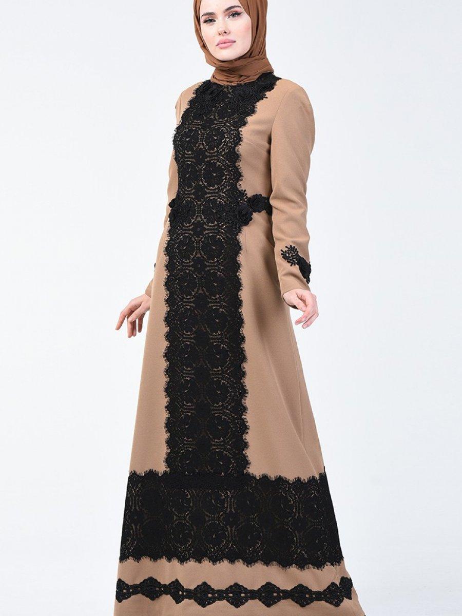Sefamerve Dantelli Vizon Abiye Elbise