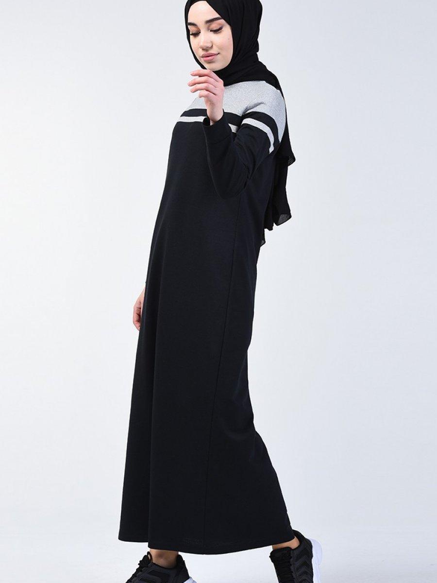 Sefamerve Garnili Spor Siyah Elbise