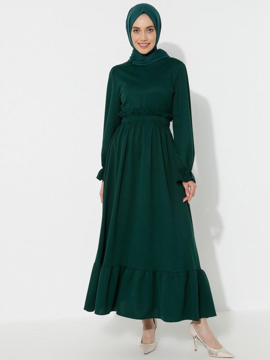 Topless Volanlı Zümrüt Elbise