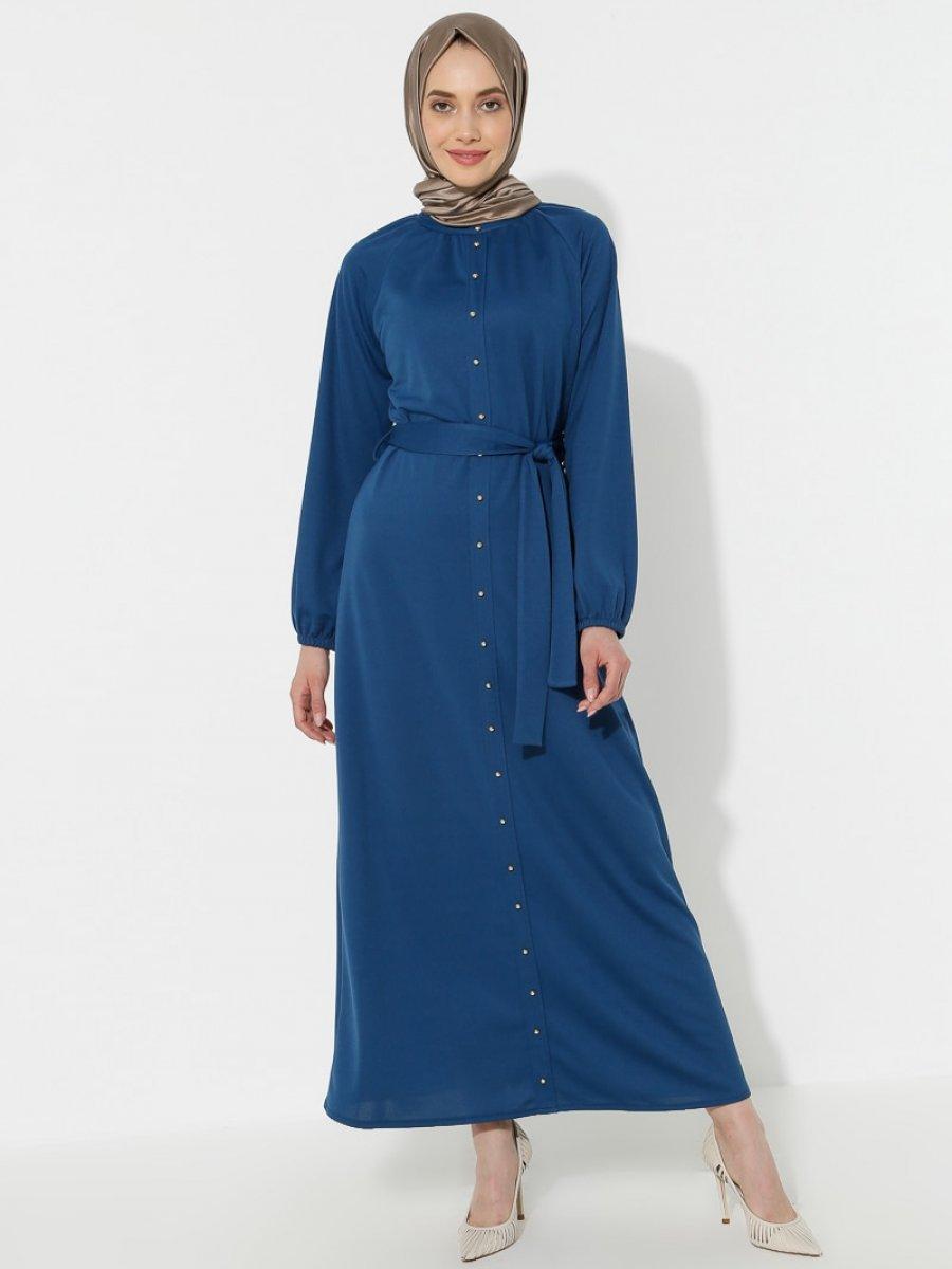 Topless Boydan Düğmeli İndigo Elbise