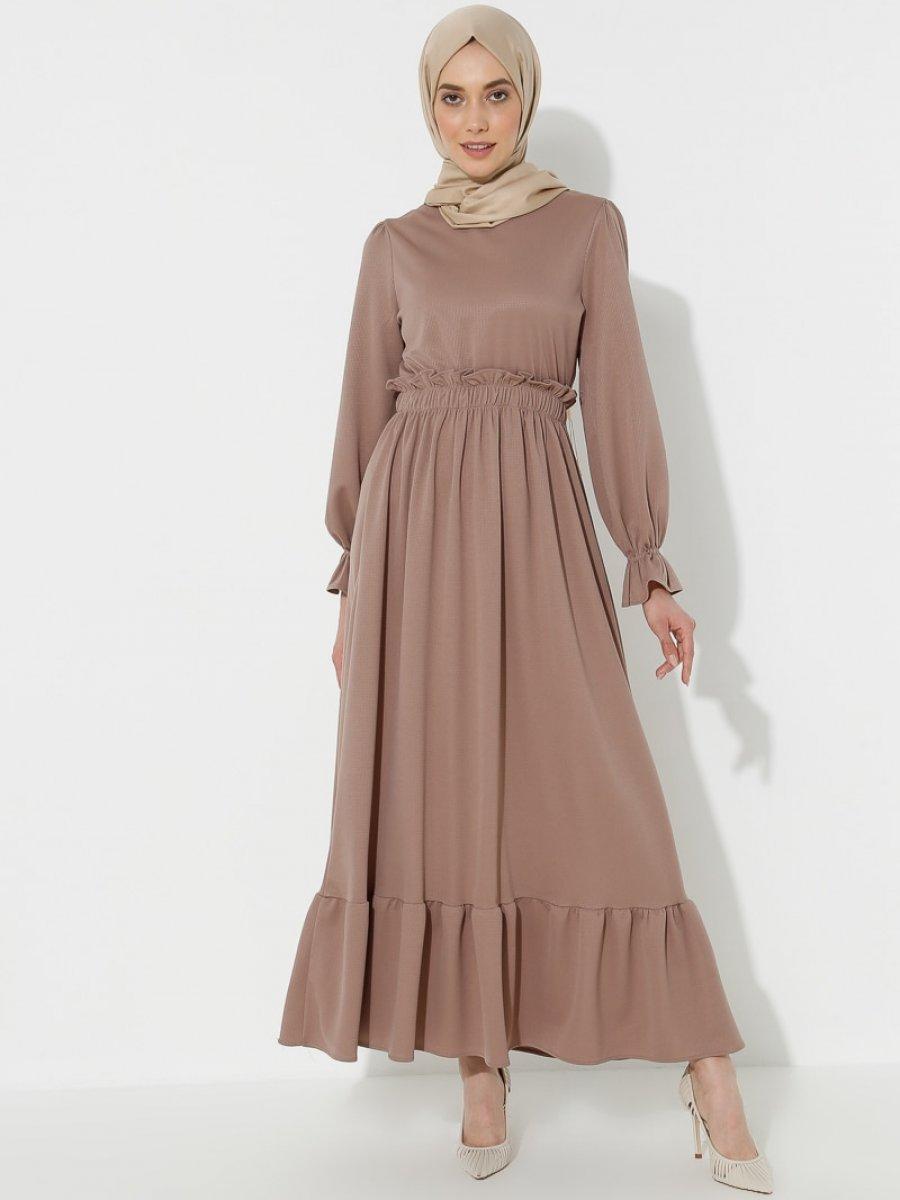 Topless Volanlı Vizon Elbise