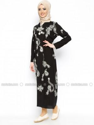 Şile Bezi Baskılı Çkr Elbise Siyah