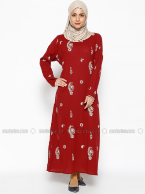 Şile Bezi Baskılı Bordo Elbise