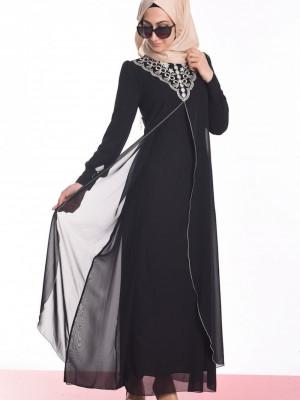 Dantel Yakalı Siyah Abiye Elbise