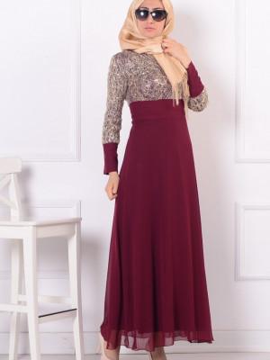 Pullu İşlemeli Bordo Abiye Elbise