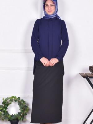 Düğme Detaylı Krep Lacivert Bluz