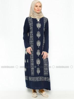 Şile Bezi Baskılı Lacivert Elbise