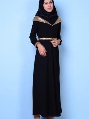 Omuz Detaylı Siyah Abiye Elbise